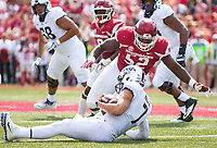 TCU Horned Frogs vs Arkansas Razorbacks –T.J. Smith (52) sacks quarterback Kenny Hill (7) of Horned Frogs at Donald W. Reynolds Razorback Stadium, University of Arkansas,  Fayetteville, AR, on Saturday, September 9, 2017,  © 2017 David Beach