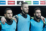 Spain's Koke Resurreccion (l), David De Gea (c) and Dani Carvajal during 15th UEFA European Championship Qualifying Round match. September 5,2015.(ALTERPHOTOS/Acero)