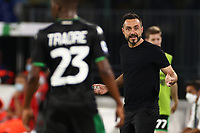 Roberto De Zerbi of coach US Sassuolo gestures<br /> during the Serie A football match between SSC  Napoli and US Sassuolo at stadio San Paolo in Naples ( Italy ), July 25th, 2020. Play resumes behind closed doors following the outbreak of the coronavirus disease. <br /> Photo Cesare Purini / Insidefoto