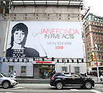 "Times Square Billboard for HBO's ""Jane Fonda in Five Acts"" on September 21, 2018 at 42nd Street in New York City."