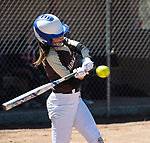 THOMASTON,  CT-041619JS06-Thomaston's Emma Kahn (1) take a swing at a pitch during their game against Watertown Tuesday at Thomaston High School.<br />  Jim Shannon Republican American