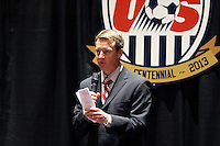 INDIANAPOLIS, IN - January 18, 2013: Panel moderator Rob Stone. U.S. Soccer hosted a World Cup Coaches and Captains panel at the Indiana Convention Center in Indianapolis, Indiana during the NSCAA Annual Convention.
