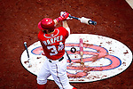 Washington Nationals outfielder Bryce Harper (34) warms up in the on deck circle during a game against the Miami Marlins at Nationals Park in Washington, DC on September 8, 2012.