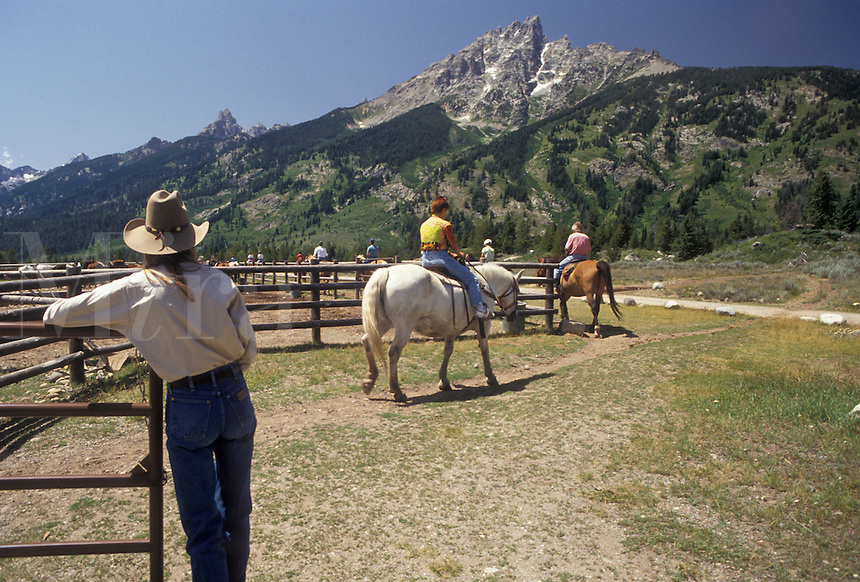 "AJ3580, horseback riding, trail ride, Grand Teton National Park, Wyoming, Grand Teton, Rocky Mountains, Grand Teton Mountains, Teton Range, A group of people riding horses leave the corral at Colter Bay Village for the """"Teton Trail Ride"""" through the Grand Teton National Park in the state of Wyoming. A view of the Teton mountain range is in the distance."