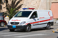 Tripoli, Libya - Ambulance.  Red Crescent is the Symbol for Medical Assistance in the Muslim World.