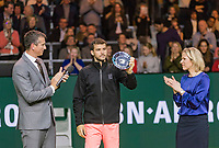 Rotterdam, The Netherlands, 18 Februari, 2018, ABNAMRO World Tennis Tournament, Ahoy, Singles final, Runner up Grigor Dimitrov (BUL) receives the trophy from Ahoy director Jolanda Jansen, left tournament director Richard Krajicek<br /> <br /> Photo: www.tennisimages.com