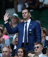 Scottish tennis coach Leon Smith in the Royal box on Centre Court <br /> <br /> Photographer Rob Newell/CameraSport<br /> <br /> Wimbledon Lawn Tennis Championships - Day 6 - Saturday 7th July 2018 -  All England Lawn Tennis and Croquet Club - Wimbledon - London - England<br /> <br /> World Copyright &not;&copy; 2017 CameraSport. All rights reserved. 43 Linden Ave. Countesthorpe. Leicester. England. LE8 5PG - Tel: +44 (0) 116 277 4147 - admin@camerasport.com - www.camerasport.com