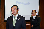 Panasonic president Kazuhiro Tsuga (L) and executive director Hideaki Kawai (R) leave a news conference at the company's headquarters on March 31, 2016, in Tokyo, Japan. Panasonic announced that it expects sales of 8.8 trillion yen ($78.28 billion) for the 2018 fiscal year, 12 percent less that its previous forecast target of 10 trillion yen because of an uncertain global economy. (Photo by Rodrigo Reyes Marin/AFLO)