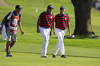 Phil Mickelson and Matt Kucher (Team USA) on the 9th fairway during Saturday afternoon Fourball at the Ryder Cup, Hazeltine National Golf Club, Chaska, Minnesota, USA.  01/10/2016<br /> Picture: Golffile | Fran Caffrey<br /> <br /> <br /> All photo usage must carry mandatory copyright credit (&copy; Golffile | Fran Caffrey)