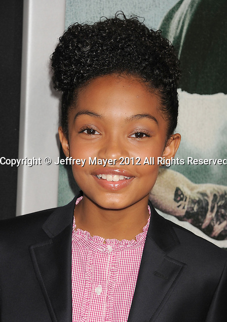 HOLLYWOOD, CA - OCTOBER 15: Yara Shahidi arrives at the Los Angeles premiere of 'Alex Cross' at the ArcLight Cinemas Cinerama Dome on October 15, 2012 in Hollywood, California.
