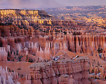 Bryce National Park, UT<br /> Evening light on Boat Mesa and Queen's Garden from Sunset Point