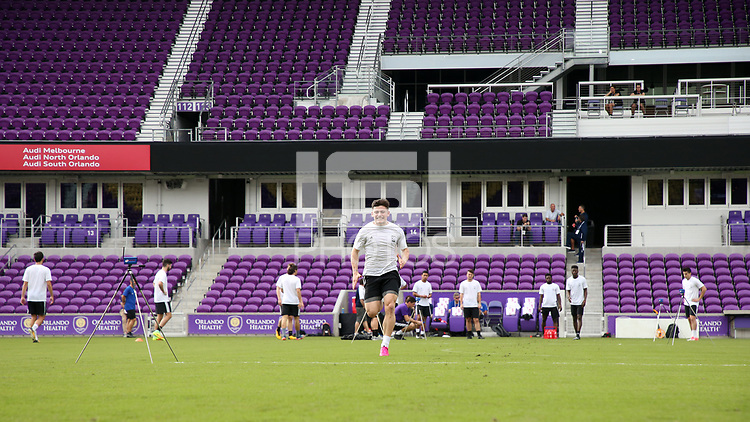 Orlando, Florida - Friday January 12, 2018: Lucas Stauffer during the sprint. The 2018 adidas MLS Player Combine Skills Testing was held Orlando City Stadium.