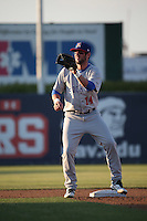 Mikey White (14) of the Stockton Ports waits for a throw to second base during a game against the Lancaster JetHawks at The Hanger on May 26, 2016 in Lancaster, California. Stockton defeated Lancaster, 16-7. (Larry Goren/Four Seam Images)