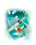 photo illustration, composite of prescription medications