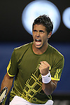 Fernando Verdasco (ESP) in action against Rafael Nadal(ESP) on day 12 of the Australian Open Tennis , 30-1-09