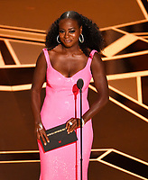 Viola Davis presents the award for best performance by an actor in a supporting role at the Oscars on Sunday, March 4, 2018, at the Dolby Theatre in Los Angeles. (Photo by Chris Pizzello/Invision/AP)