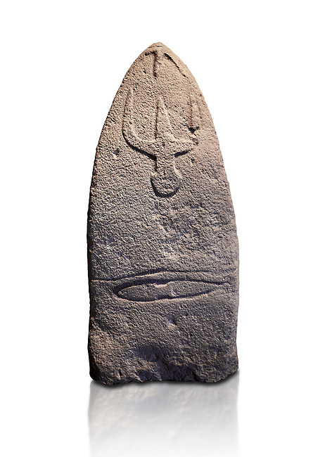 Late European Neolithic prehistoric Menhir standing stone with carvings on its face side. The representation of a stylalised male figure starts at the top with a long nose from which 2 eyebrows arch around the top of the stone. below this is a carving of a falling figure with head at the bottom and 2 curved arms encircling a body above. at the bottom is a carving of a dagger running horizontally across the menhir. Excavated from Genna Arrele II. Menhir Museum, Museo della Statuaria Prehistorica in Sardegna, Museum of Prehoistoric Sardinian Statues, Palazzo Aymerich, Laconi, Sardinia, Italy. White background.