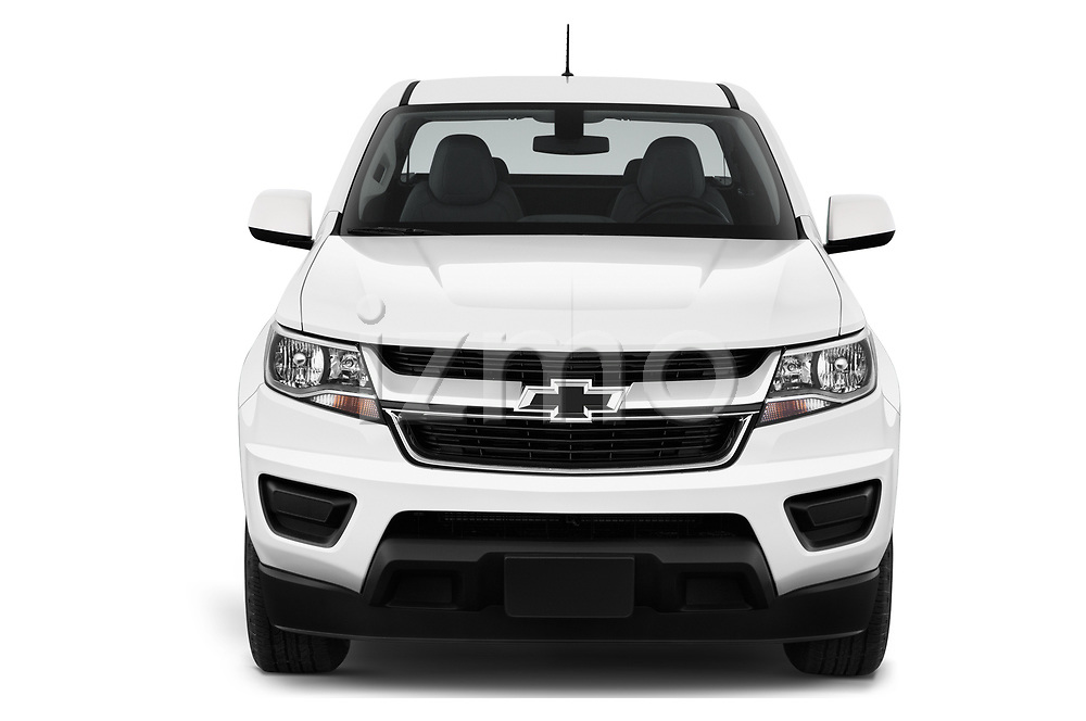Car photography straight front view of a 2019 Chevrolet Colorado WT 4 Door Pick-up Front View