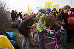 Bicycled powered fruit blender making  smoothies  at a march against the building of  Hinkley C power station, Somerset  and the UK government's choice of Nuclear power as the mainstay of England's power supply...Around 1000 people attended.