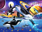 Interlitho, Lorenzo, REALISTIC ANIMALS, paintings, orcas, planets(KL3976,#A#) realistische Tiere, realista, illustrations, pinturas ,puzzles