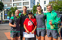 Australia players pose with a fan. 2018 Hamilton Sevens Official welcome at Garden Square in Hamilton, New Zealand on Friday, 2 February 2018. Photo: Dave Lintott / lintottphoto.co.nz