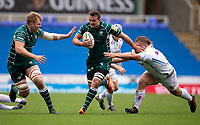 London Irish's Jake Schatz evades the tackle of Exeter Chiefs' Tomas Francis<br /> <br /> Photographer Bob Bradford/CameraSport<br /> <br /> Aviva Premiership Round 20 - London Irish v Exeter Chiefs - Sunday 15th April 2018 - Madejski Stadium - Reading<br /> <br /> World Copyright &copy; 2018 CameraSport. All rights reserved. 43 Linden Ave. Countesthorpe. Leicester. England. LE8 5PG - Tel: +44 (0) 116 277 4147 - admin@camerasport.com - www.camerasport.com