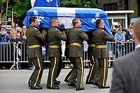 Montreal CANADA - June 16,2105.<br /> <br /> Surete du Quebec officers carry the coffin of Former Quebec Premier Jacques Parizeau at his state funerals, June 16, 2015