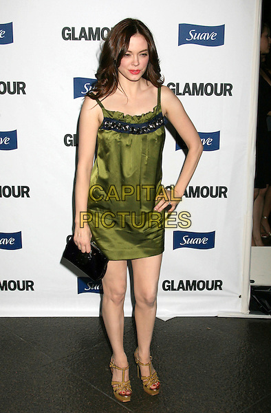 ROSE McGOWAN.2008 Glamour Reel Moments held at the Directors Guild of America, Los Angeles, California, USA..October 14th, 2008.full length green silk satin dress clutch bag platform shoes black yellow hand on hip.CAP/ADM/MJ.©Michael Jade/AdMedia/Capital Pictures.