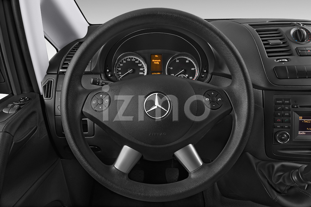 Car pictures of steering wheel view of a 2013 Mercedes Benz Vito 113CDi SWB Long 4 Door Cargo Van 2WD Steering Wheel