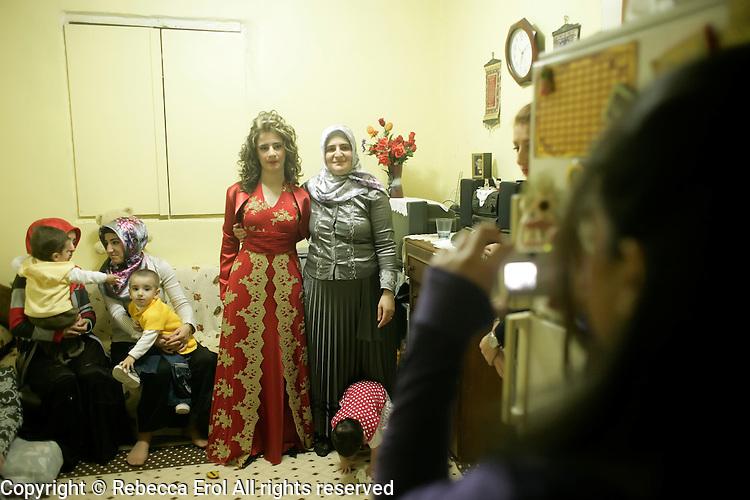 Kurdish women at home before the hen night or kina gecesi in Istanbul, Turkey