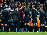 Referee Antonio Mateu Lahoz sends off Manchester City's Pep Guardiola at half time during the Champions League Quarter Final 2nd Leg match at the Etihad Stadium, Manchester. Picture date: 10th April 2018. Picture credit should read: David Klein/Sportimage