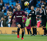 Pablo Zabaleta of West Ham United returns to Manchester City since his move in the summer during the premier league match at the Etihad Stadium, Manchester. Picture date 3rd December 2017. Picture credit should read: Andrew Yates/Sportimage