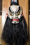 Photo shows Susano, one of the Iwami-Kagura masks created by Briton Jake Davies at his home in Sakurae Village, Shimane Prefecture, Japan on 28 June 2011..Photographer: Robert Gilhooly