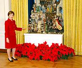 The White House Christmas decorations were shown to the press on December 3, 2001.  Even though the Executive Mansion has been closed to tourists since the 9/11 terrorist attacks, the annual ritual of decorating the house continues.  First lady Laura Bush describes the White House creche.<br /> Credit: Ron Sachs / CNP