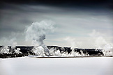 USA, Wyoming, Yellowstone National Park, snowy landscape of the Fountain Paint Pot area on Foutain Flats, the Lower Geyser Basin
