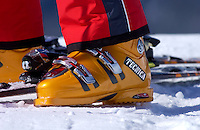 Modern Tecnica ski boot close-up in Swiss Alps, Switzerland