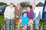 RUBDOWN: Final rub down for their dogs as they entered the Kilflynn Coursing Club Coursing in Kilflynn on Saturday by, l-r: Noel Dillon, Jim Foley, Martin O'Mahony, Sean Carr and Adrian Carr (Lisselton).............