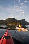 Sea Kayakers, San Juan Islands, Cypress Island, Rosario Strait, Puget Sound, Washington State, Pacific Northwest, USA