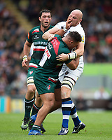 Ellis Genge of Leicester Tigers fends Matt Garvey of Bath Rugby. Aviva Premiership match, between Leicester Tigers and Bath Rugby on September 3, 2017 at Welford Road in Leicester, England. Photo by: Patrick Khachfe / Onside Images