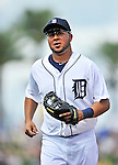 9 March 2012: Detroit Tigers infielder Jhonny Peralta trots back to the dugout during a Spring Training game against the Philadelphia Phillies at Joker Marchant Stadium in Lakeland, Florida. The Phillies defeated the Tigers 7-5 in Grapefruit League action. Mandatory Credit: Ed Wolfstein Photo