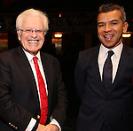 Jerry Zaks and Sergio Trujillo during the Actors' Equity Gypsy Robe Ceremony honoring Jonathan Brody for  'A Bronx Tale'  at The Longacre on December 1, 2016 in New York City.