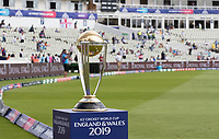 The ICC World Cup Trophy on display at Edgbaston before the second semi final between Australia vs England, ICC World Cup Semi-Final Cricket at Edgbaston Stadium on 11th July 2019