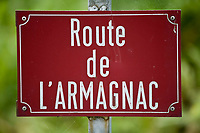 "Europe/France/Aquitaine/40/Landes/ Saint-Cricq Villeneuve: Plaque de rue ""Route de l'Armagnac"""