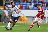 Bolton Wanderers' Pawel Olkowski competing with Bristol City's Jamie Paterson<br /> <br /> Photographer Andrew Kearns/CameraSport<br /> <br /> The EFL Sky Bet Championship - Bolton Wanderers v Bristol City - Saturday August 11th 2018 - University of Bolton Stadium - Bolton<br /> <br /> World Copyright &copy; 2018 CameraSport. All rights reserved. 43 Linden Ave. Countesthorpe. Leicester. England. LE8 5PG - Tel: +44 (0) 116 277 4147 - admin@camerasport.com - www.camerasport.com