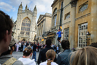 Busking outside Bath Abbey, Bath, UK, October 20, 2007. The city of Bath is famed for it's hot springs (the only in the UK) and it's Georgian architecture. The city is a UNESCO World Heritage Site.