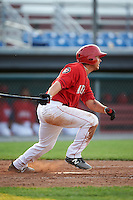 Auburn Doubledays third baseman Jake Jefferies (10) at bat during a game against the Mahoning Valley Scrappers on June 19, 2016 at Falcon Park in Auburn, New York.  Mahoning Valley defeated Auburn 14-3.  (Mike Janes/Four Seam Images)