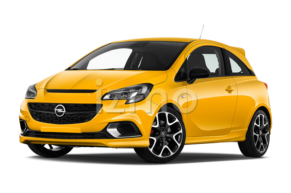 Stock pictures of low aggressive front three quarter view of 2019 Opel Corsa GSI 3 Door Hatchback Low Aggressive