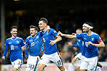 Motherwell v St Johnstone&hellip;20.10.18&hellip;   Fir Park    SPFL<br />Jason Kerr celebrates with Scott Tanser, Matty Kennedy, Joe Shaughnessy and Chris Kane after scoring the winning goal<br />Picture by Graeme Hart. <br />Copyright Perthshire Picture Agency<br />Tel: 01738 623350  Mobile: 07990 594431
