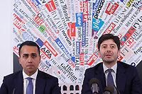 Italian Foreign Minister Luigi di Maio, Italy's Minister of Health Roberto Speranza<br /> Rome February 27th 2020. Press conference at the Foreign Press Association about Coronavirus (Covid-19). The Italian Government try to calm the fears about the outbreak of the flu, to avoid a drop of the tourism and commercial relations.<br /> Photo Samantha Zucchi Insidefoto