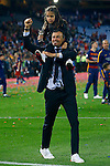 FC Barcelona's coach Luis Enrique Martinez celebrates with his daughter the victory in the Spanish Kings Cup Final match. May 22,2016. (ALTERPHOTOS/Acero)